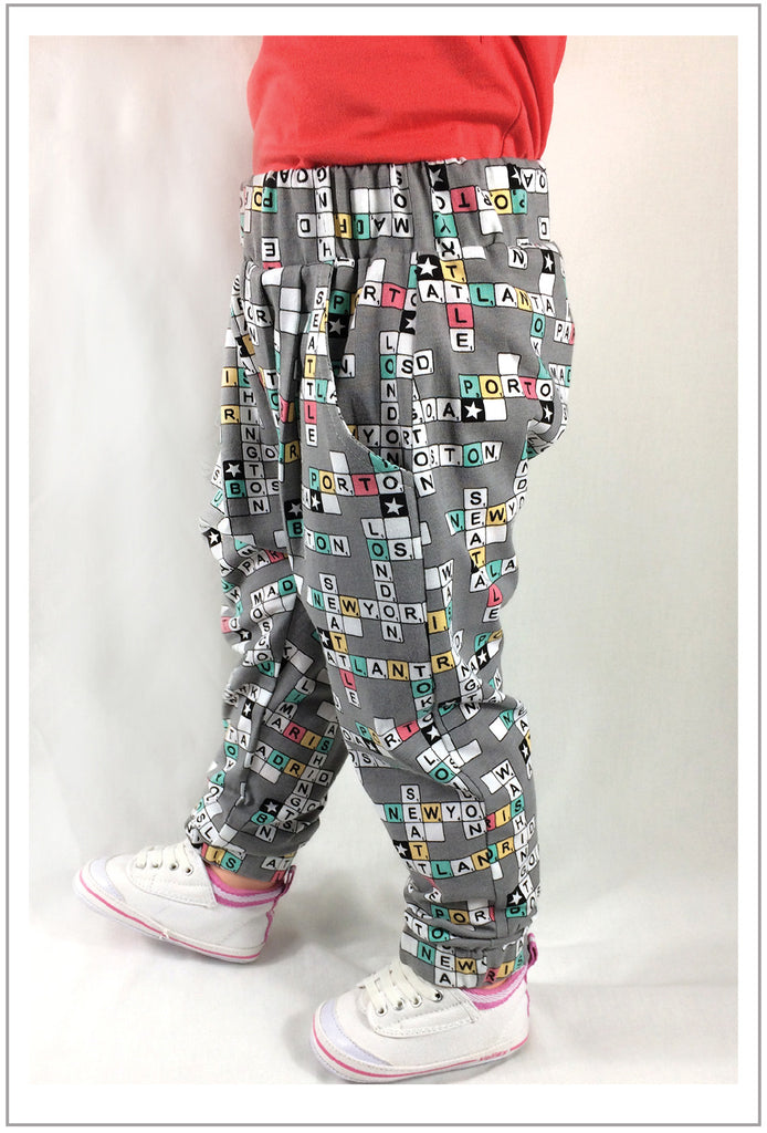 Harem pants PDF sewing pattern for babies and toddlers, PANDA PANTS sizes 3+ months to 6 years - Felicity Sewing Patterns