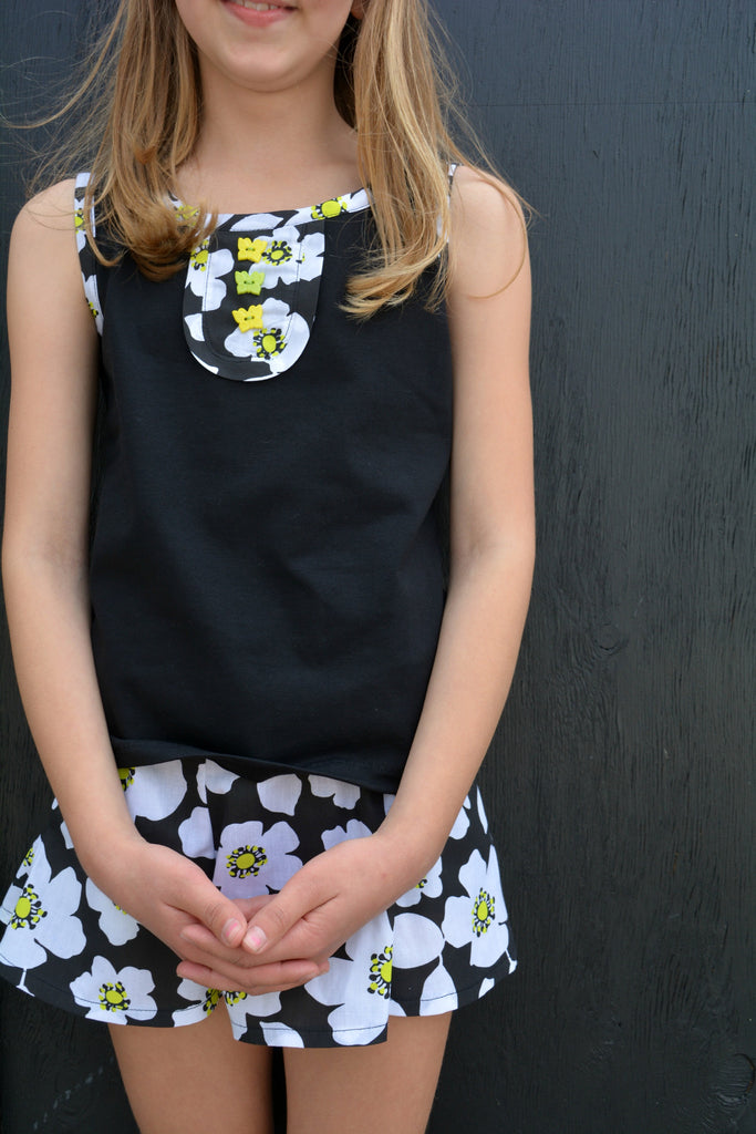 uzie Tank Top sizes 2-14 years sewing pattern shown with the Suzie Skort