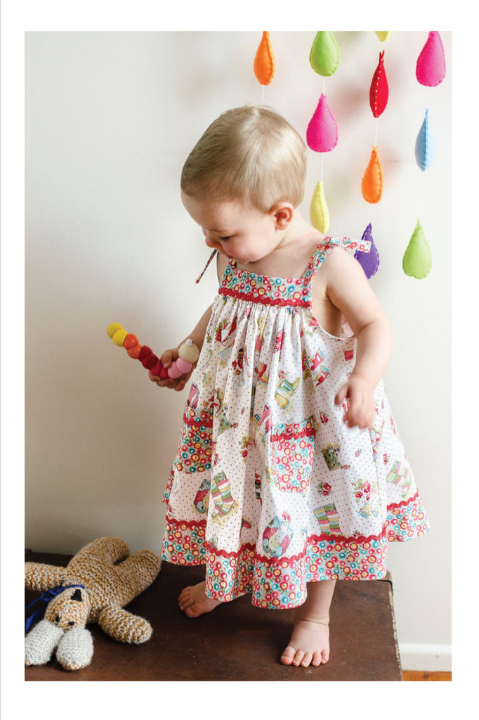 Adorable baby sundress sewing pattern by Felicity Patterns