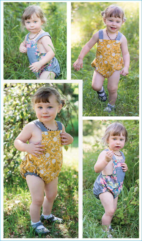 SALE COUPON! Baby Romper PDF Sewing Pattern, DIMPLES baby boy & girl sunsuit/romper, sizes 3+months - 3 years - Felicity Sewing Patterns