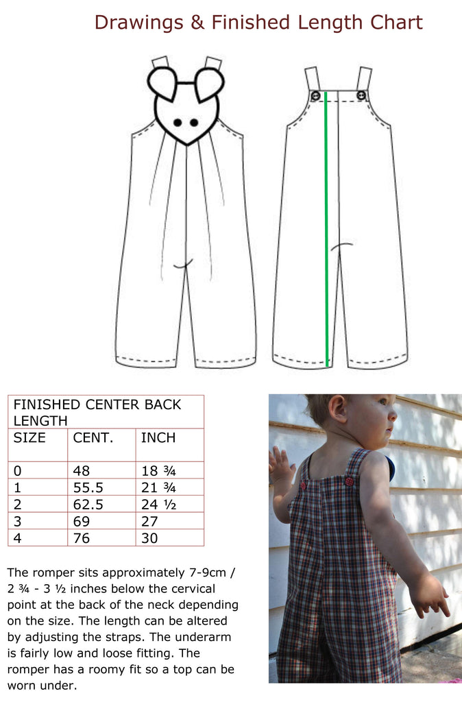Overalls, Shortalls, Romper pdf sewing pattern for baby & toddler sizes 9 mths to 4 yrs. - Felicity Sewing Patterns