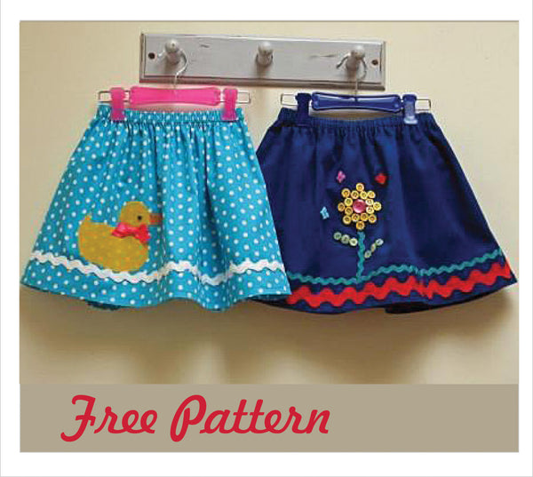 FREE PATTERN -- Duckie Skirt Pattern & 2 Appliques - Felicity Sewing Patterns