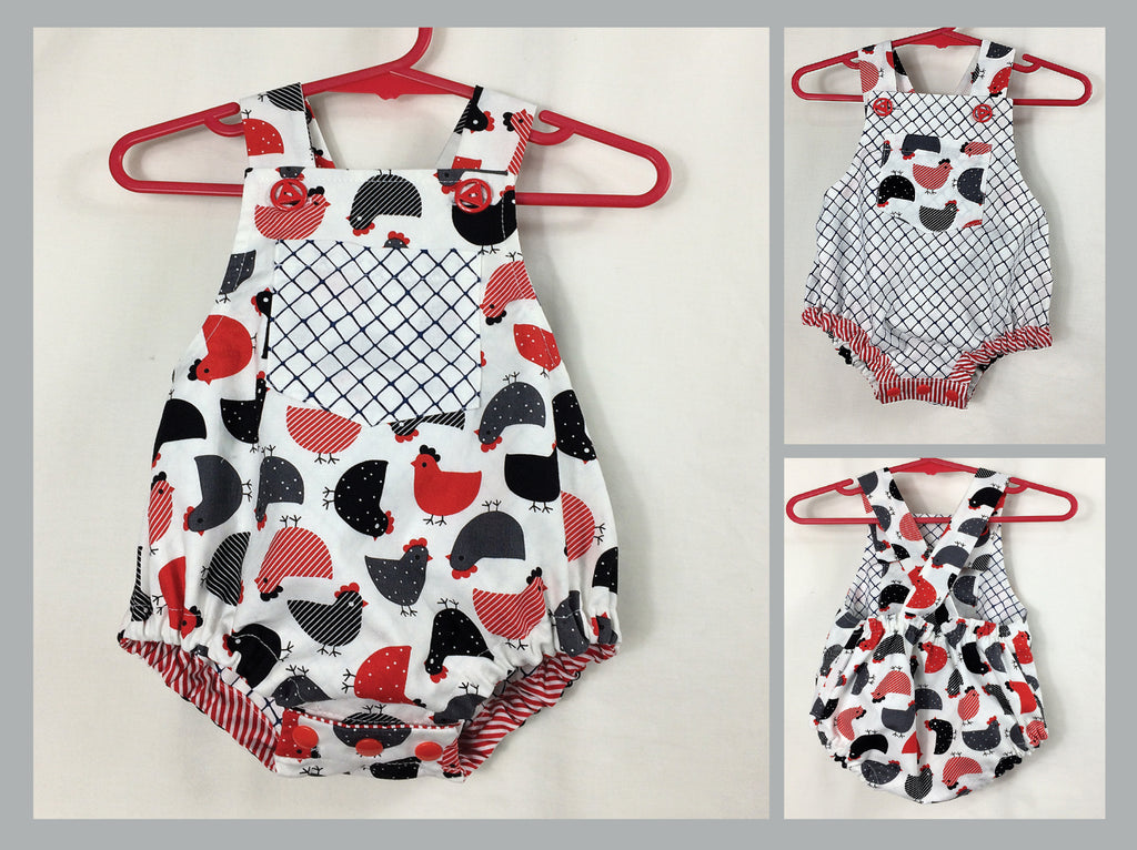 Baby Boy and Girl Romper PDF Sewing Pattern, DIMPLES reversible baby sunsuit/romper, sizes 3+months - 3 years - Felicity Sewing Patterns