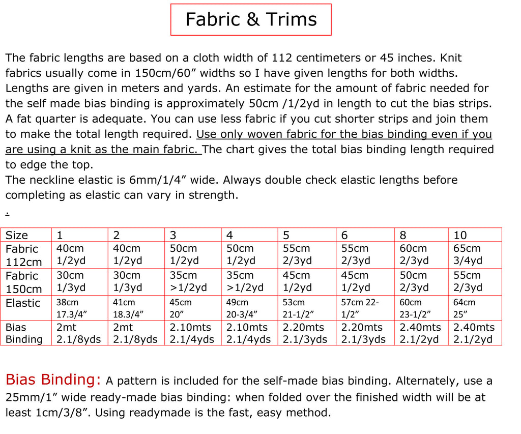 Fabric Chart for Tilly Top by Felicity Patterns