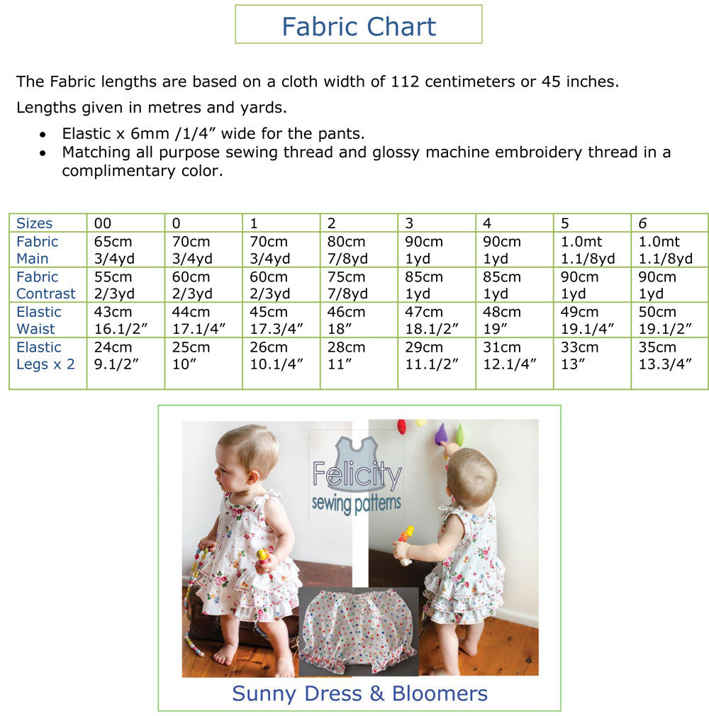 Baby Dress & Bloomer sewing pattern SUNNY DRESS & BLOOMERS Sizes 6 months to 6 years