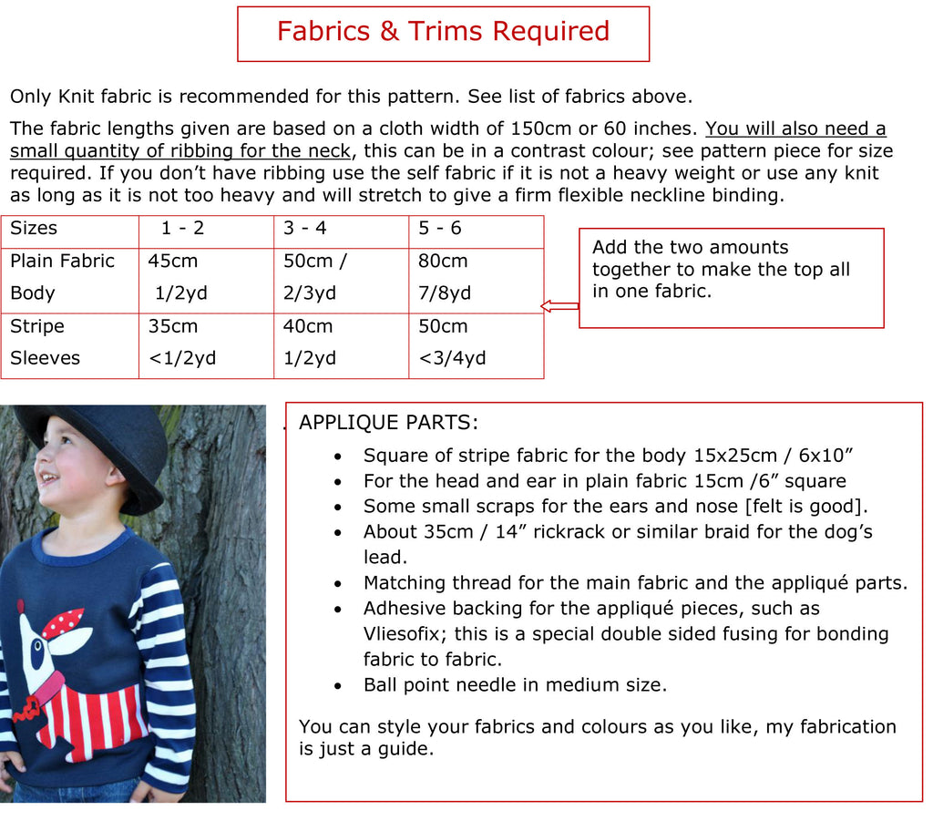 Boys sweatshirt sewing pattern by Felicity Patterns fabric chart