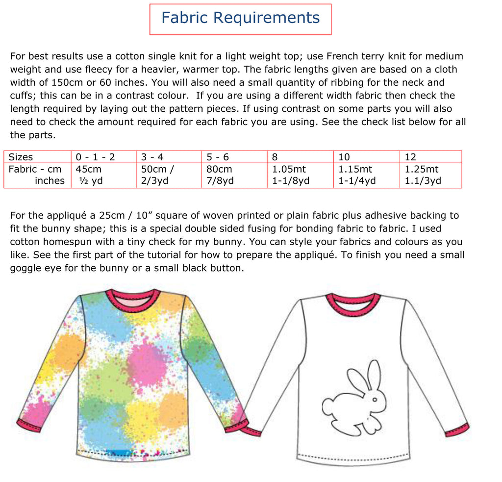 Childs T shirt sewing pattern SLOPPY JOE + Bunny applique, boys & girls sizes 9 mths - 12 yrs - Felicity Sewing Patterns