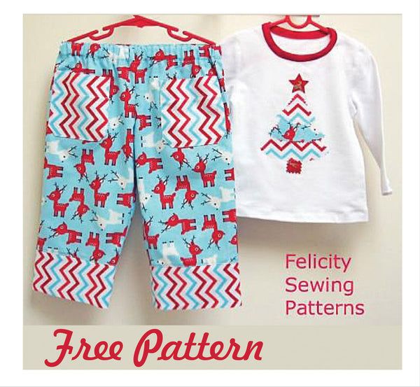 FREE PATTERN - Play Pants with Christmas tree applique, boys & girls sizes 1 to 10 year