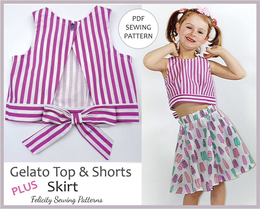 A kid's cute summer top, shorts, skirt pdf sewing pattern, GELATO TOP & SHORTS sizes 2 - 10 years - Felicity Sewing Patterns