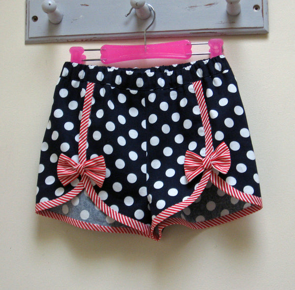 Gidget Shorts by Felicity Sewing Patterns. Girls shorts sewing pattern to fit girls 2 to 14 years.
