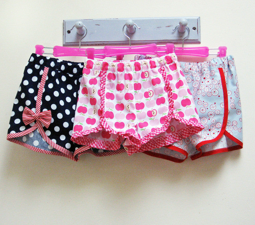 Gidget Shorts in 3 versions, girl's shorts sewing pattern
