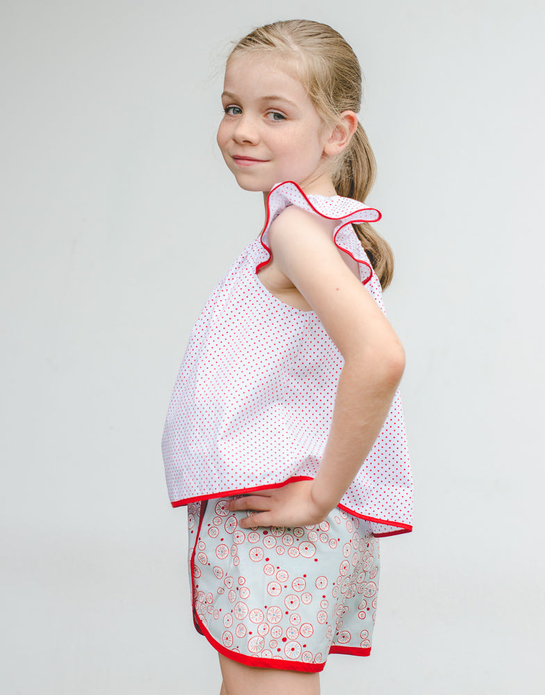 Girls summer shorts pdf sewing pattern GIDGET SHORTS sizes 2 to 14 years in 2 versions - Felicity Sewing Patterns