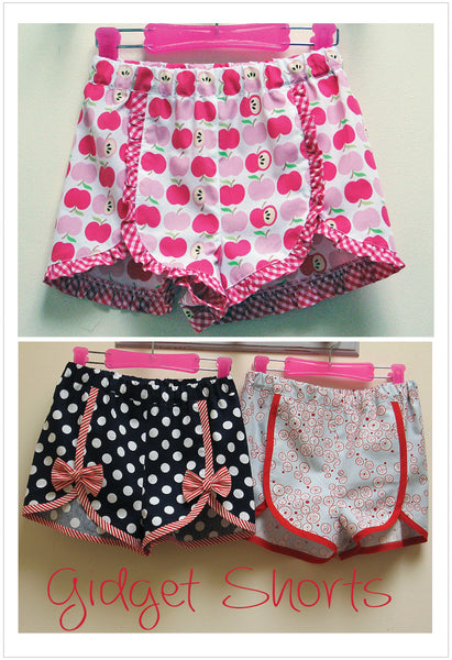 Girls summer shorts sewing pattern GIDGET SHORTS sizes 2 to 14 years in 2 versions - Felicity Sewing Patterns
