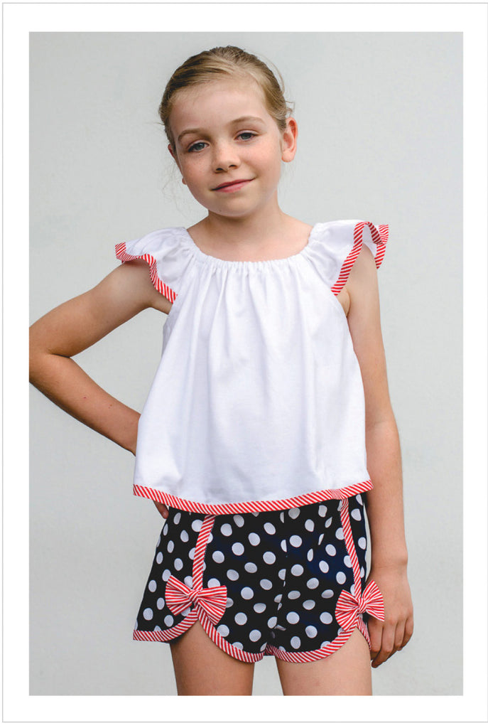 Girls shorts pdf sewing pattern Gidget Shorts sizes 2 to 14 years. - Felicity Sewing Patterns