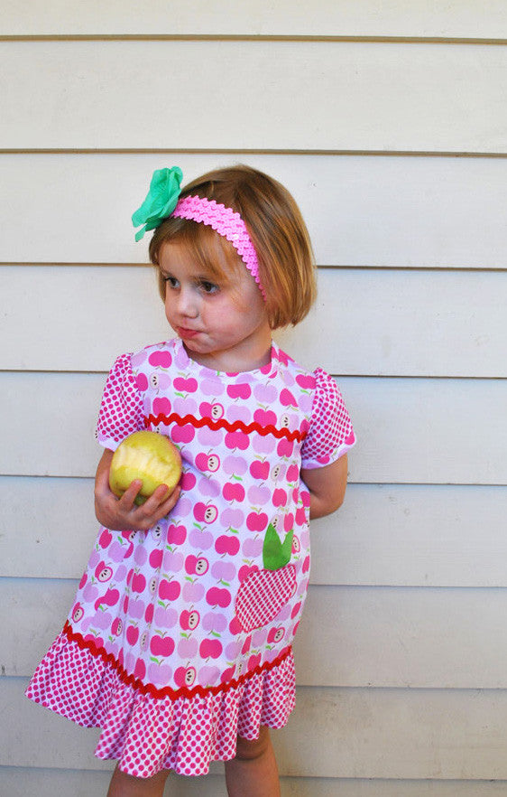 Polly Pippin dress with apple applique to sew with Felicity Patterns