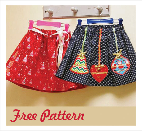 FREE PATTERN - Christmas Glitter Skirts & Appliques sizes 6 months to 8 years. - Felicity Sewing Patterns