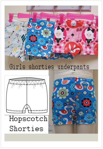 Girls underpants sewing pattern Hopscotch Shorties by felicity Patterns