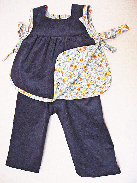 Baby girl pdf sewing pattern ISABELLE BABY SET, top & pants set for baby girls sizes 3 months to 4 years. - Felicity Sewing Patterns