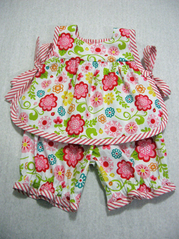 Baby top & pant set sewing pattern ISABELLE BABY SET with bias edging