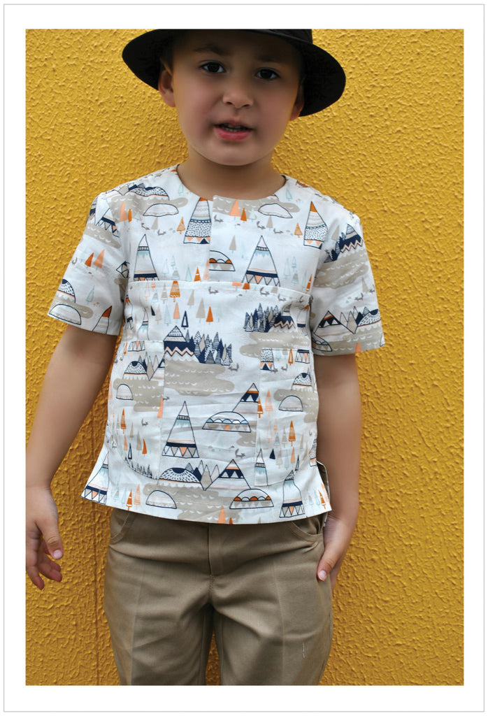 SALE COUPON! Kids summer shirt PDF sewing pattern for knit or woven fabric. Kieran Shirt sizes 2 - 12 years, - Felicity Sewing Patterns