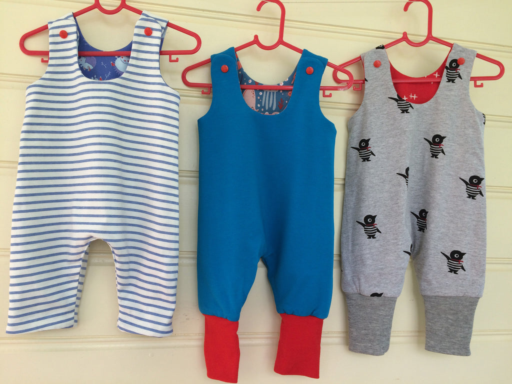Reversible baby romper sewing pattern KINDY KNIT ROMPER knit fabric romper sizes 3 months to 3 years - Felicity Sewing Patterns