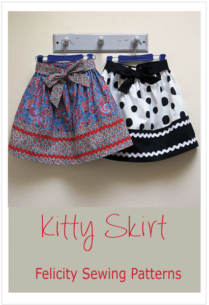 Girls easy skirt sewing pattern, KITTY SKIRT Sizes 2-12 years, includes 2 variations. - Felicity Sewing Patterns