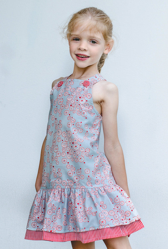 Toddler & girl's dress pdf sewing pattern  LUCY LOU sizes 1 to 10 years jumper dress or sundress. - Felicity Sewing Patterns