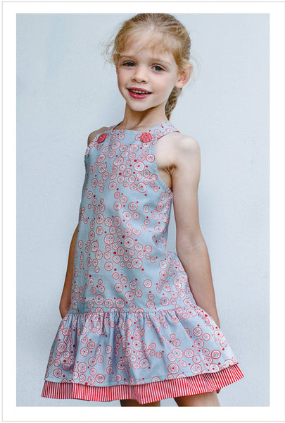 Girl's dress pattern  LUCY LOU sizes 1 to 10 years jumper dress or sundress. - Felicity Sewing Patterns