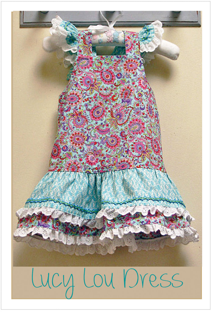Party frock sewing pattern  LUCY LOU sizes 1 to 10 years 2 versions included. PDF pattern. - Felicity Sewing Patterns