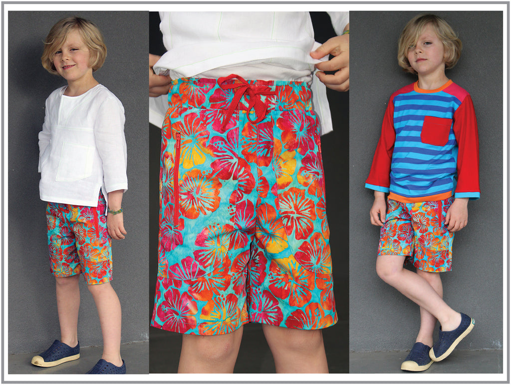 Kids summer shorts and long pants PDF sewing pattern, MANGO SHORTS & LONGIES, sizes 2 - 12 years. - Felicity Sewing Patterns