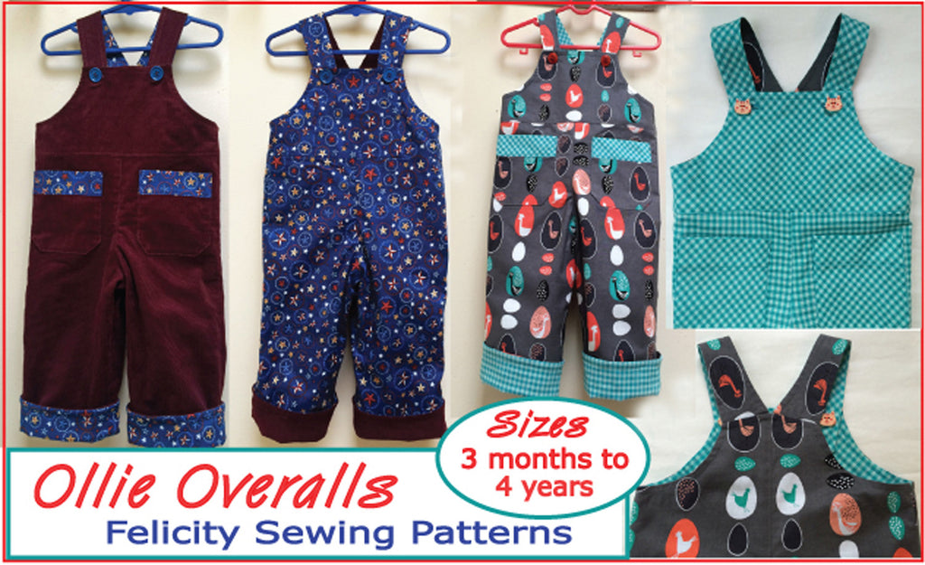 Adorable Baby Boys Overalls/Shortalls OLLIE OVERALLS Sizes to fit 3+months to 4 years. PDF pattern - Felicity Sewing Patterns