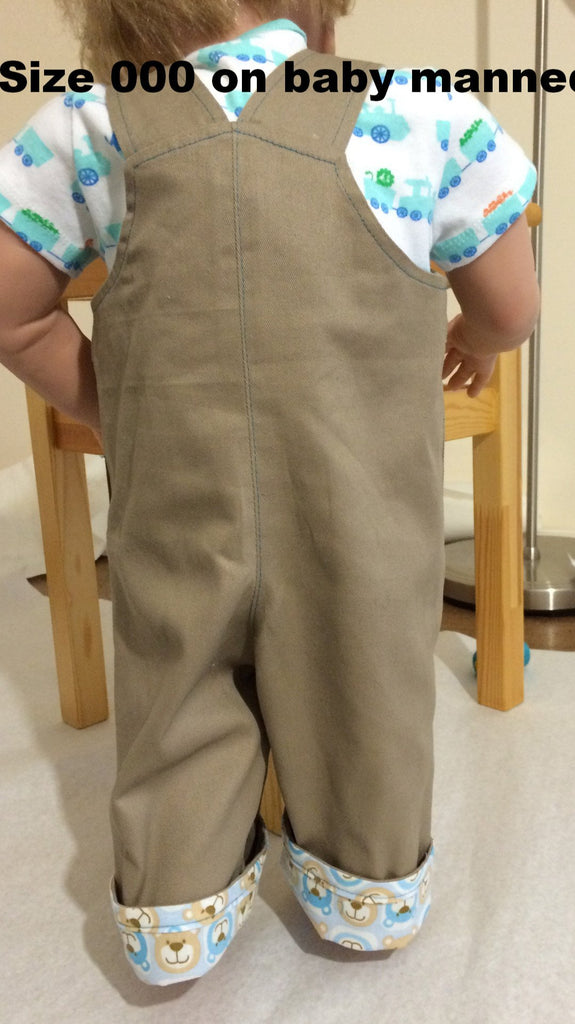 Boys Overalls/Shortalls OLLIE OVERALLS Sizes to fit 3+months to 4 years. PDF pattern - Felicity Sewing Patterns