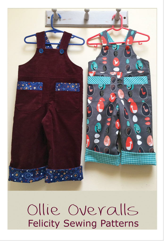 Baby Boys Overalls/Shortalls OLLIE OVERALLS Sizes to fit 3+months to 4 years - Felicity Sewing Patterns