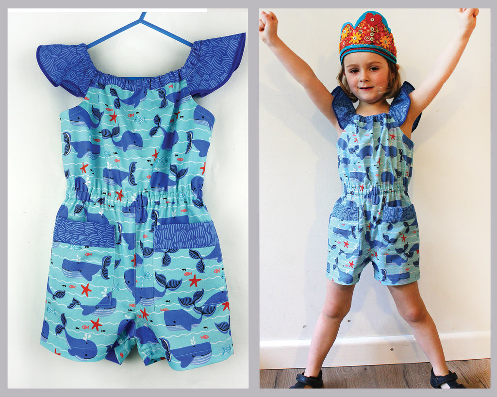 SALE COUPON! Flutter sleeve girls dress & romper sewing pattern Peachy Dress & Playsuit sizes 2-14 years - Felicity Sewing Patterns
