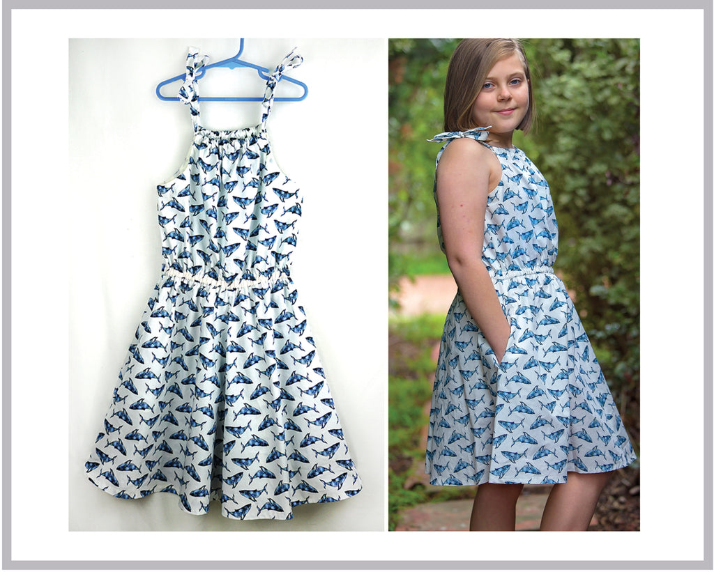 Tots to teens playsuit, dress, romper pdf sewing pattern Peachy Dress & Playsuit sizes 2-14 years - Felicity Sewing Patterns