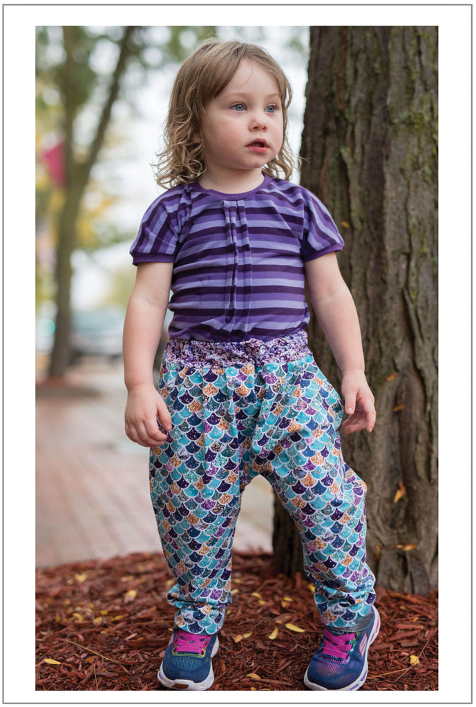 Harem pants sewing pattern for babies and toddlers, PANDA PANTS sizes 3+ months to 6 years - Felicity Sewing Patterns