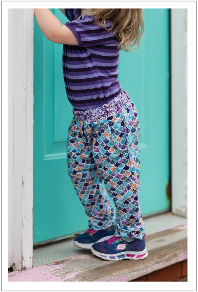 SALE COUPON! Boy and girl harem pants PDF sewing pattern for babies and toddlers, PANDA PANTS sizes 3+ months to 6 years - Felicity Sewing Patterns