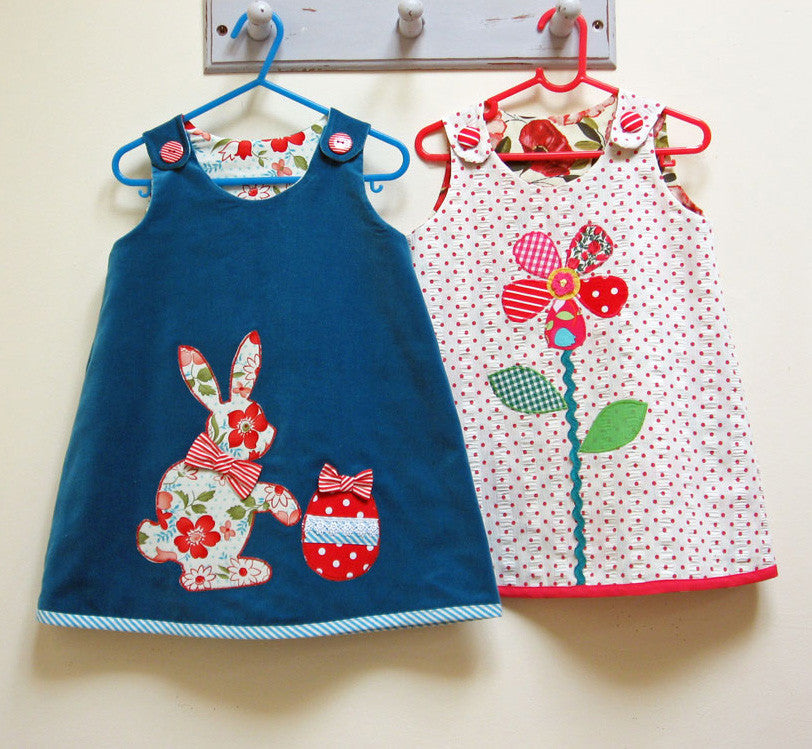Baby and toddler dress pattern Petal Reversible Dress sewing pattern sizes 6-9 months to 8 years. - Felicity Sewing Patterns