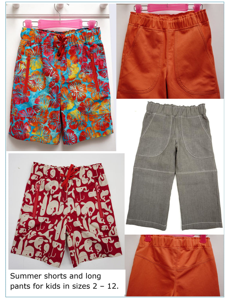 Boys beach shorts and long pants PDF sewing pattern, MANGO SHORTS & LONGIES, sizes 2 - 12 years. - Felicity Sewing Patterns