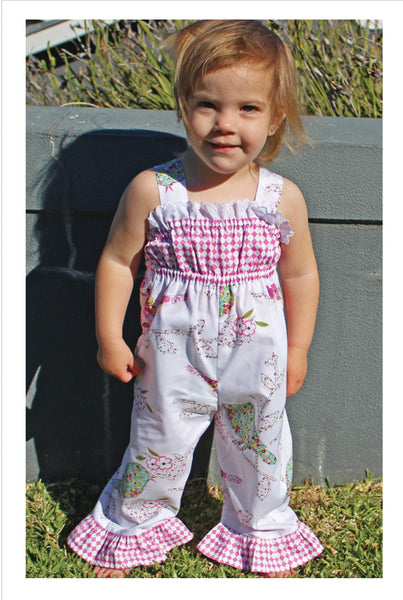 Baby girls romper sewing pattern PLAYGROUND ROMPER sizes 3 months to 6 years. - Felicity Sewing Patterns