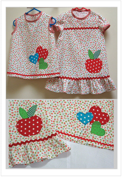 Girls apple applique dress & top sewing pattern POLLY PIPPIN sizes 6-9mths - 6 yrs - Felicity Sewing Patterns