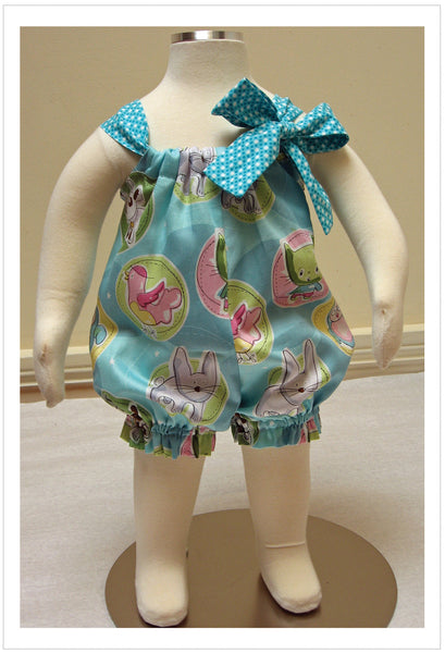 Quick and easy to sew baby romper sewing pattern by Felicity Patterns