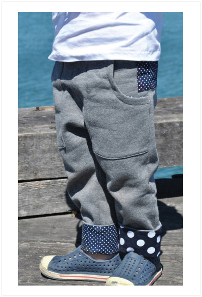 Boys sweat pants slouchy style sewing pattern by Felicity Patterns