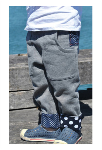 Kids fleece pants pattern Rascal Pants cool slouchy pants for boys & tomboys size 1-8 years. - Felicity Sewing Patterns