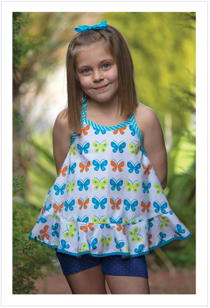 Sewing pattern for girls wrap-back top and dress by Felicity Patterns
