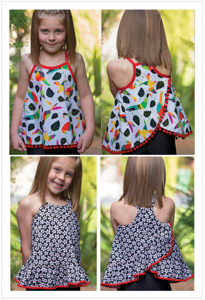 Girls ruffled top and dress sewing pattern, sundress pattern by Felicity Patterns