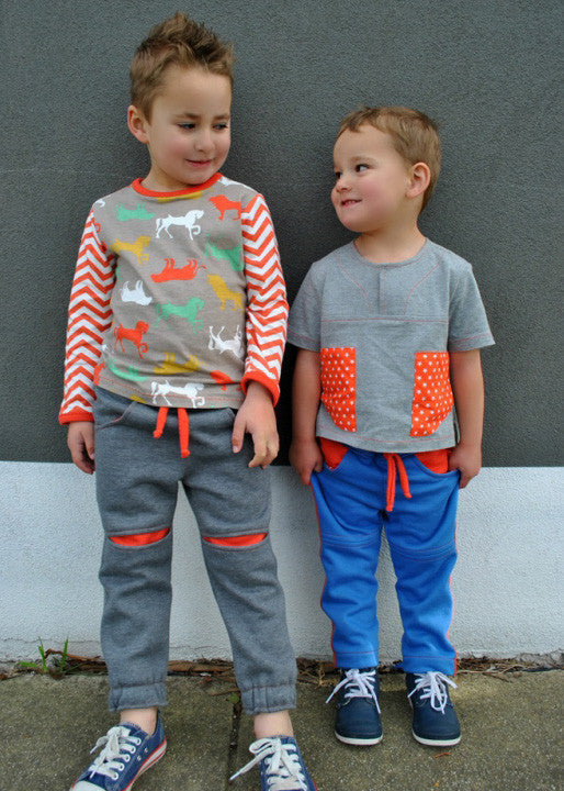 ROSCOE PANTS pdf sewing pattern sizes 2 to 12 years. Children's fleece pants pattern