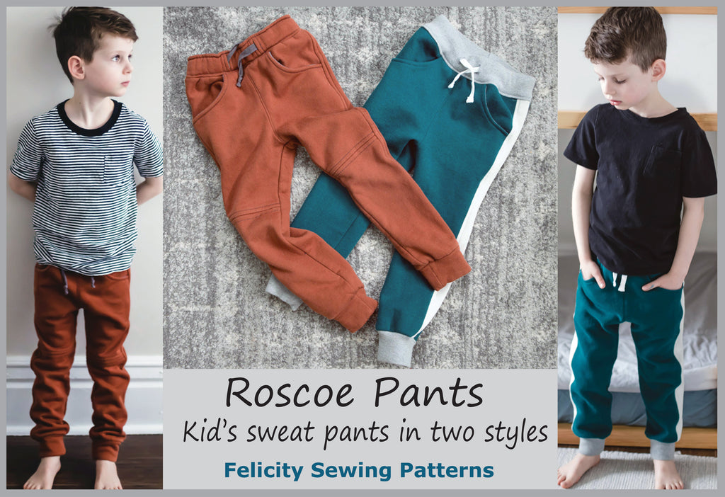 Children's fleece pants PDF sewing pattern ROSCOE PANT sizes 2 to 12 years.