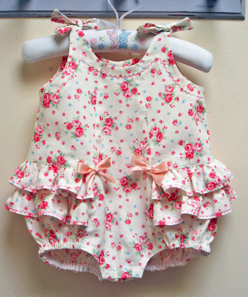 RoseBud Romper baby romper sewing pattern sizes 3 months to 3 years.