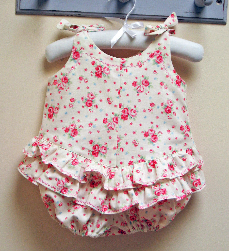 Ruffled romper sewing pattern ROSEBUD Romper baby sizes 3 months to 3 years. - Felicity Sewing Patterns